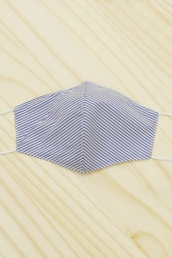 She & Sky  Blue and white striped cotton washable mask from Colorado by Back In Love — Shoptiques