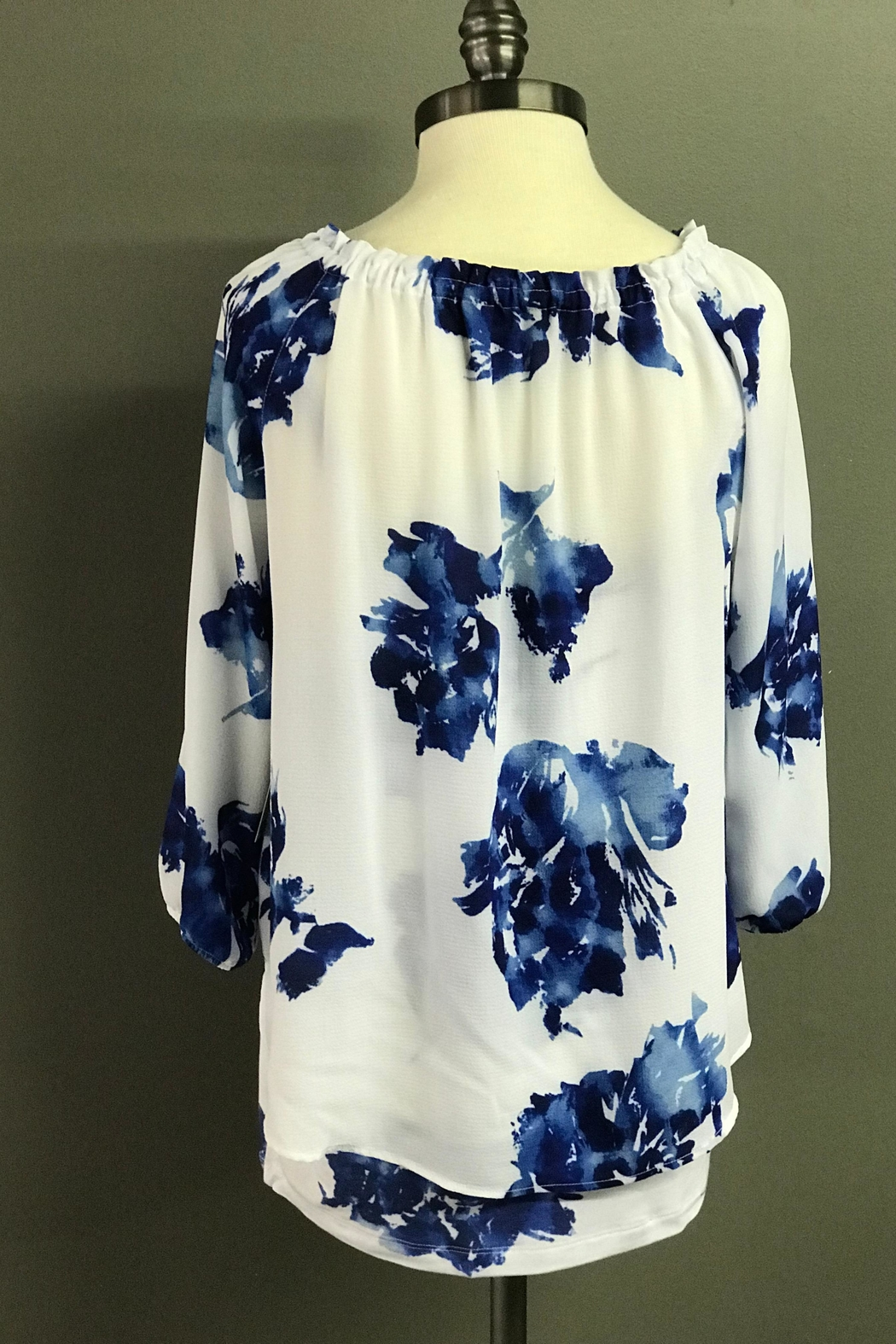 Multiples Blue Blossoms Blouse - Side Cropped Image