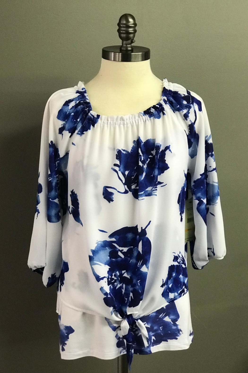 Multiples Blue Blossoms Blouse - Front Full Image