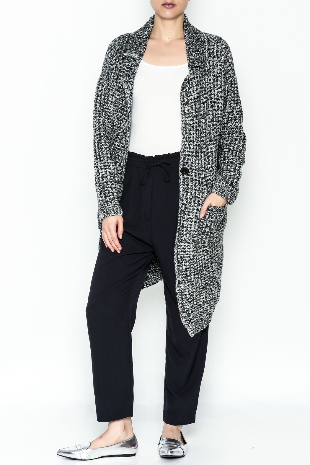 blue blush Heavy Cardigan - Front Cropped Image