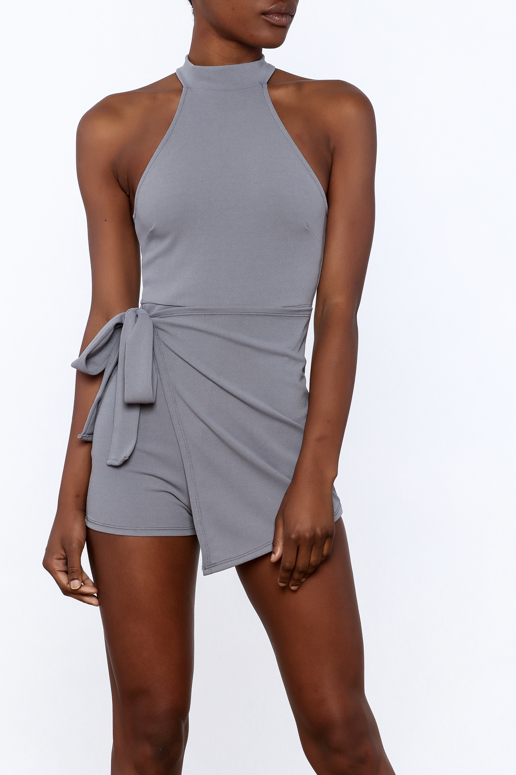 blue blush Grey Sleeveless Romper - Front Cropped Image