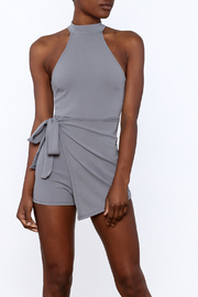 blue blush Grey Sleeveless Romper - Front cropped