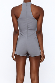 blue blush Grey Sleeveless Romper - Back cropped