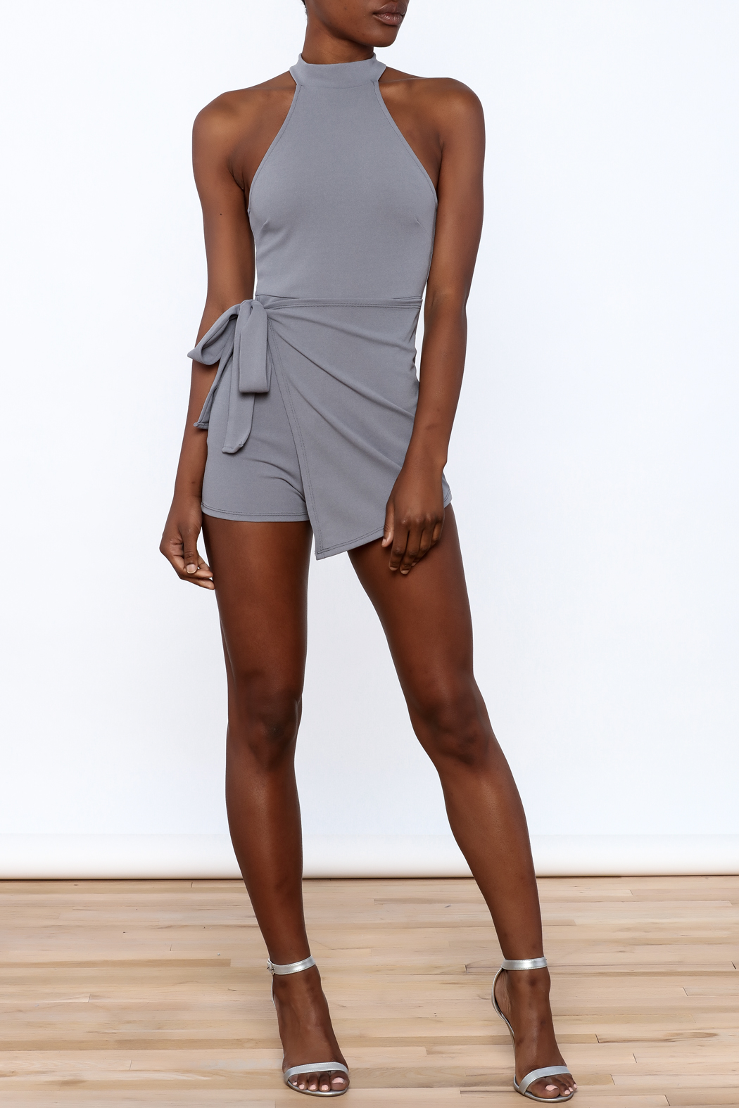 blue blush Grey Sleeveless Romper - Front Full Image