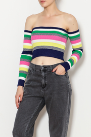 blue blush Stripe Crop Top - Product Mini Image