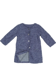 Malvi & Co. Blue Boucle Coat. - Front cropped