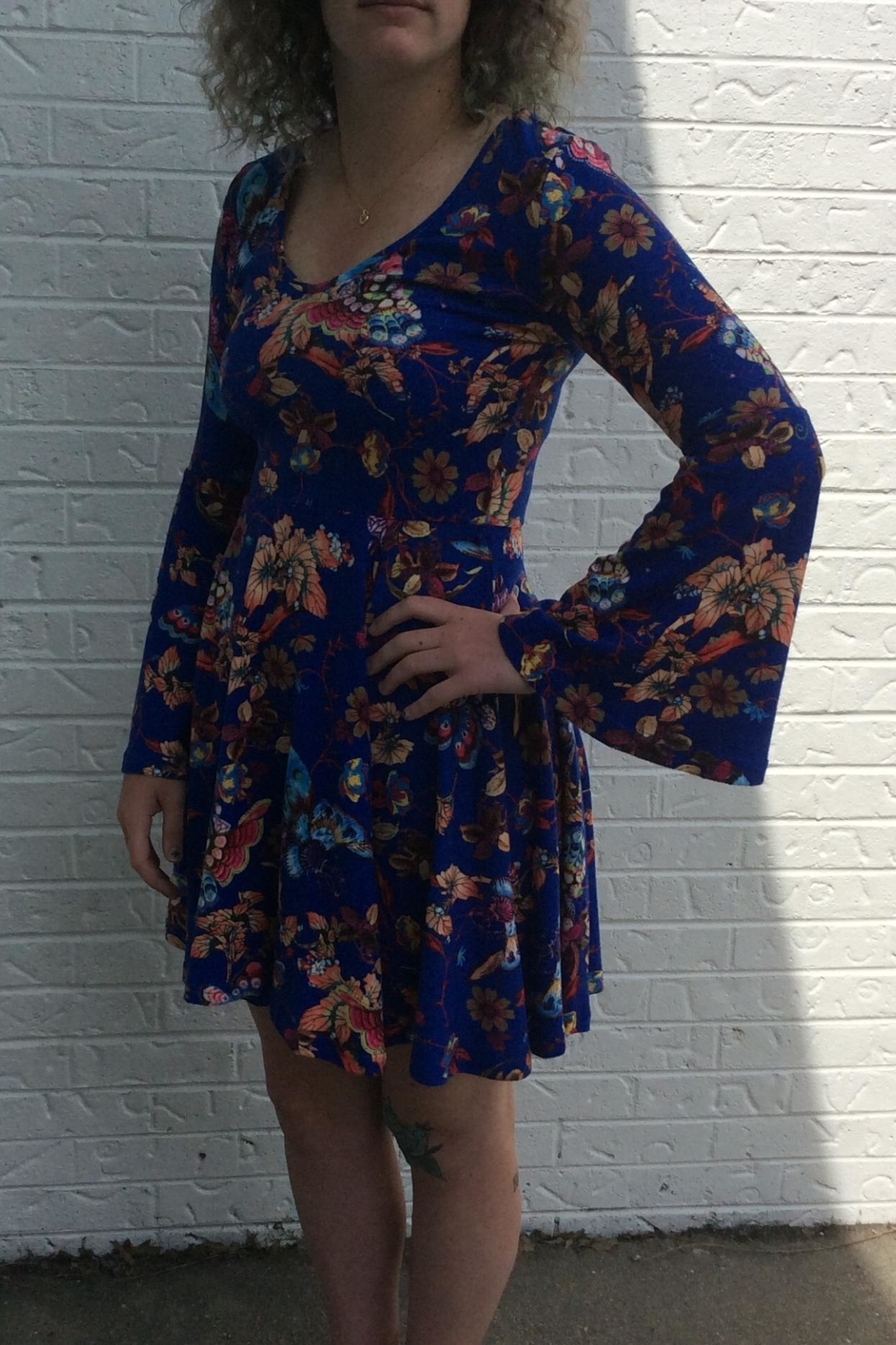 Aryeh Blue Butterfly Dress - Front Full Image
