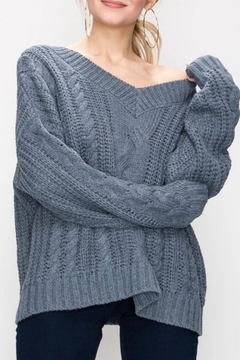 Favlux Blue Cable-Knit Sweater - Product List Image