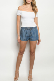 Signature 8 Blue Chambray Mini Shorts - Product Mini Image
