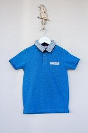 Leo & Zachary Blue Collared Polo - Front cropped