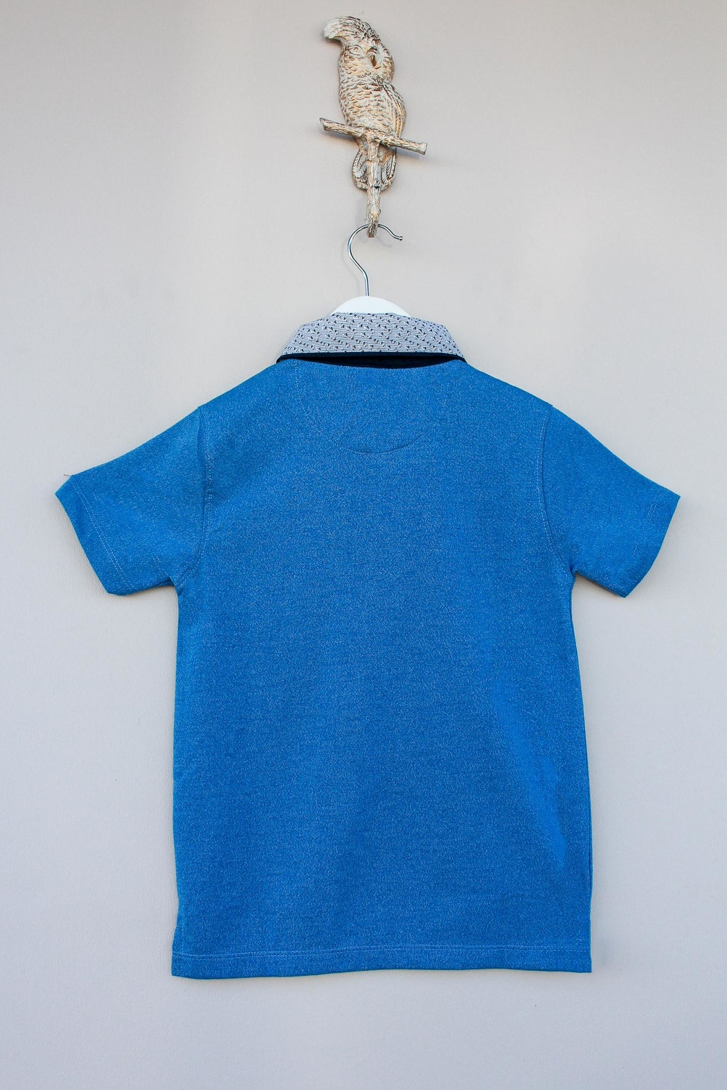 Leo & Zachary Blue Collared Polo - Side Cropped Image