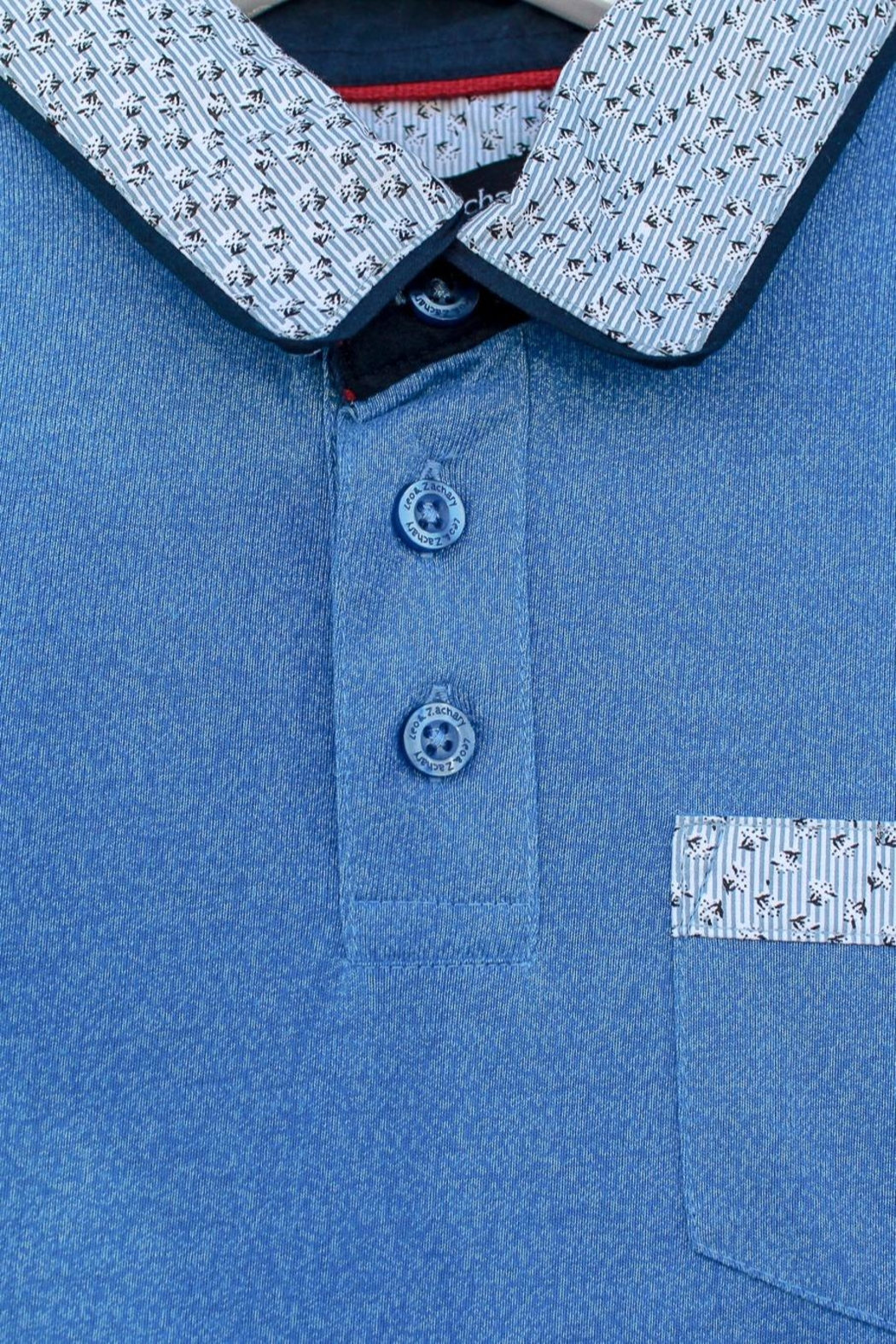 Leo & Zachary Blue Collared Polo - Front Full Image