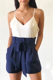 luxxel Blue Contrast Romper - Front cropped