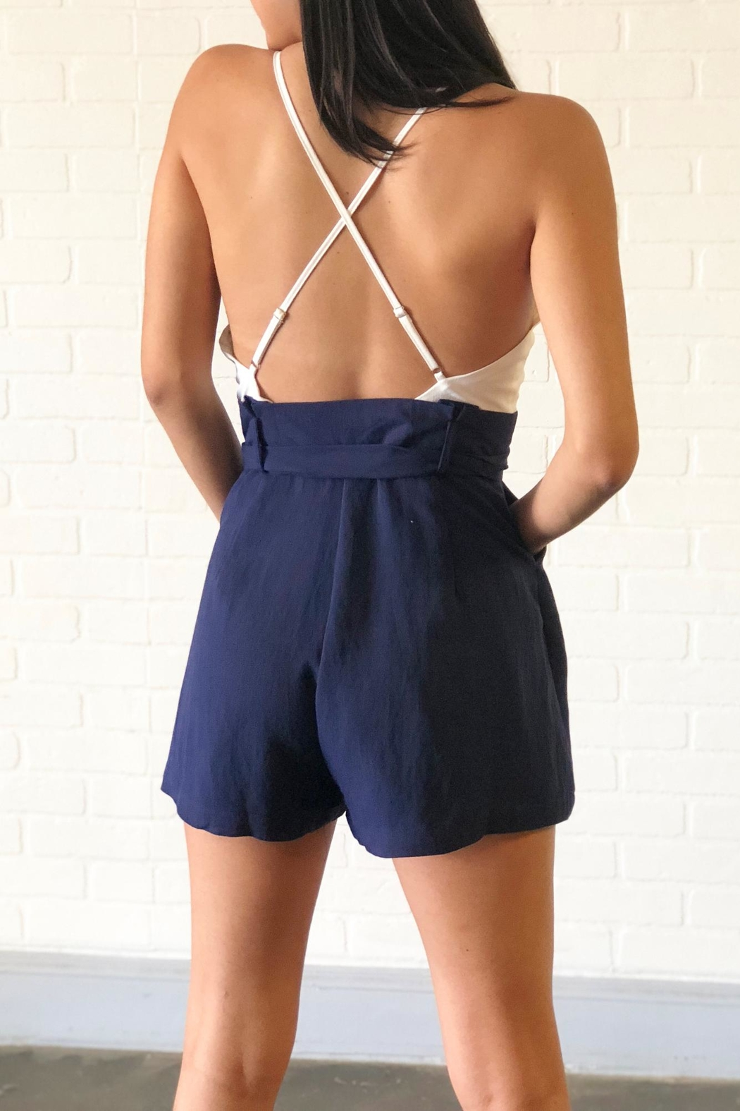 luxxel Blue Contrast Romper - Side Cropped Image