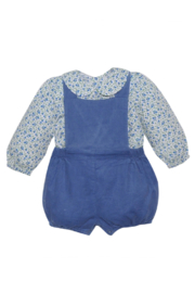 Remember Nguyen Blue Corduroy Short Set with Floral Blouse - Product Mini Image