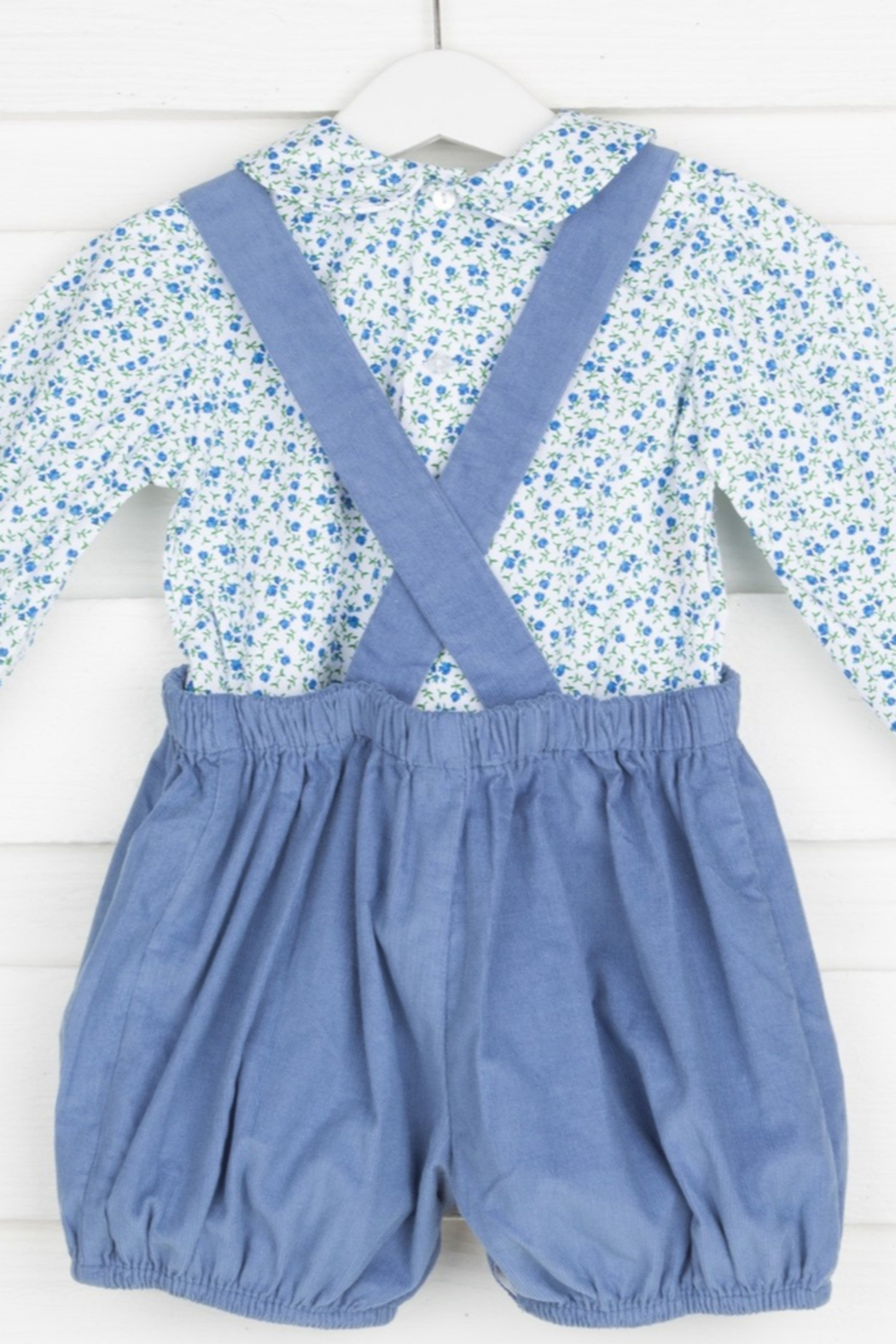 Remember Nguyen Blue Corduroy Short Set with Floral Blouse - Front Full Image