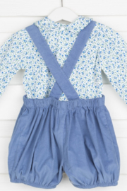Remember Nguyen Blue Corduroy Short Set with Floral Blouse - Front full body