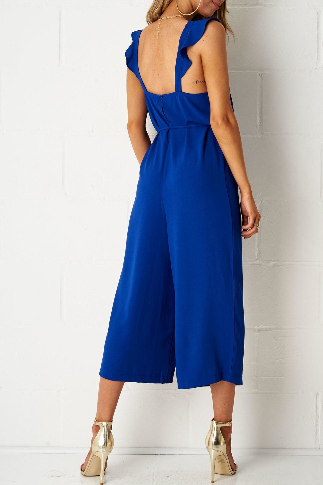 frontrow Blue Culotte Jumpsuit - Side Cropped Image