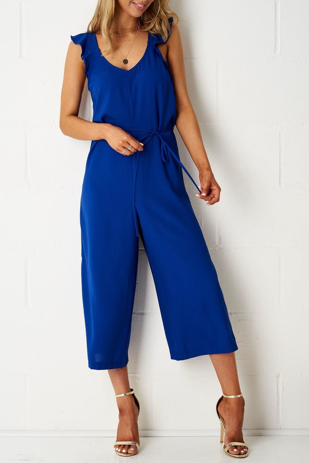 frontrow Blue Culotte Jumpsuit - Front Full Image
