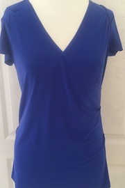 Joseph Ribkoff  Blue Deep V Neck Top - Product Mini Image