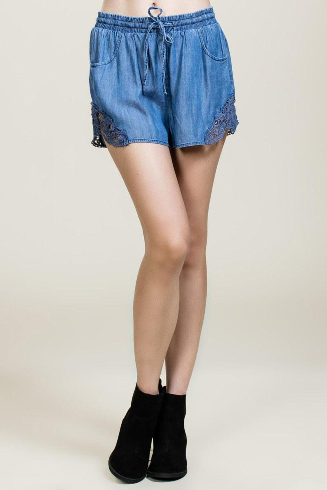 Blue Denim Shorts  - Main Image