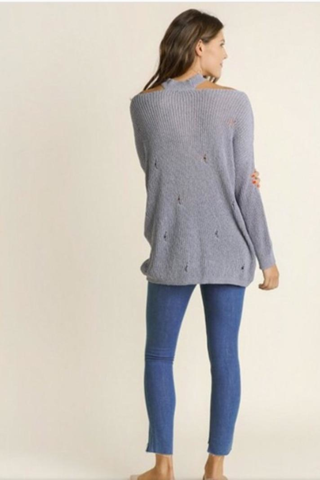 Blue SLA Blue Distressed Sweater - Side Cropped Image
