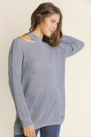 Blue SLA Blue Distressed Sweater - Front cropped