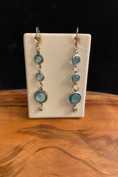 tesoro  Blue Drop Stone Earrings - Alternate List Image