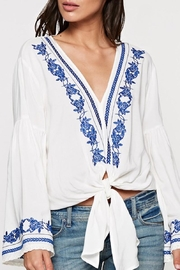 Lovestitch Blue Embroidered Top - Product Mini Image