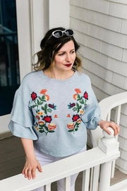 Femme Boutique Boston  Blue Embroidered Top - Product Mini Image