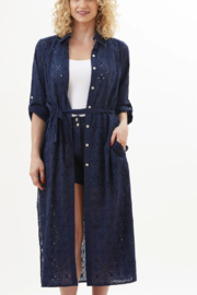 Amita Naithani  Blue eyelet long Duster - Product Mini Image