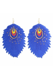 Madison Avenue Accessories Blue Feather Earring - Product Mini Image