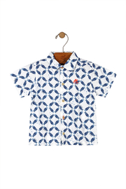 Up Baby Blue Fish Print Polo - Product Mini Image