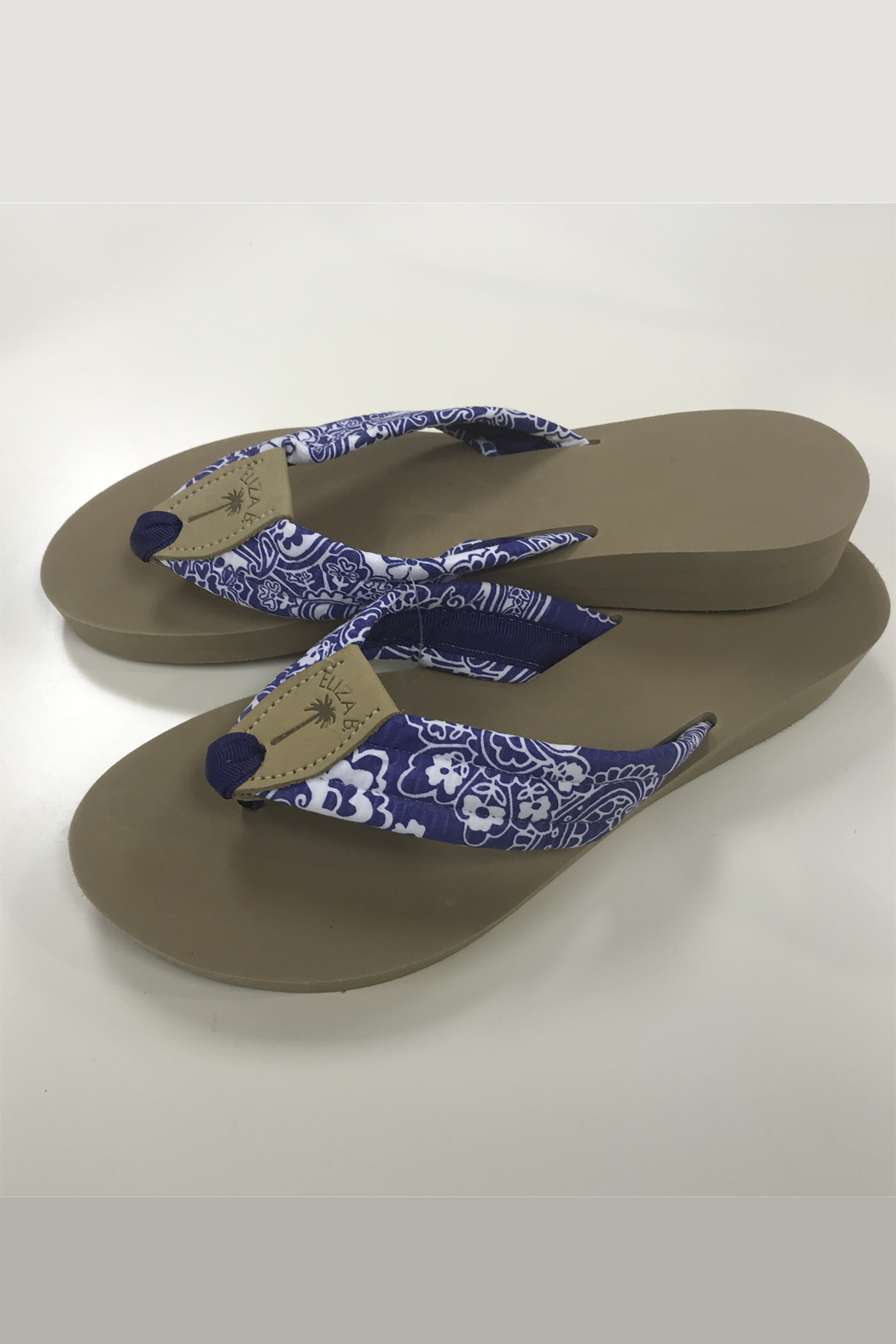 Eliza B Blue Floral - Almond Sole Sandal - Front Cropped Image