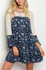 Andree Blue Blue Floral Lace Dress - Product Mini Image