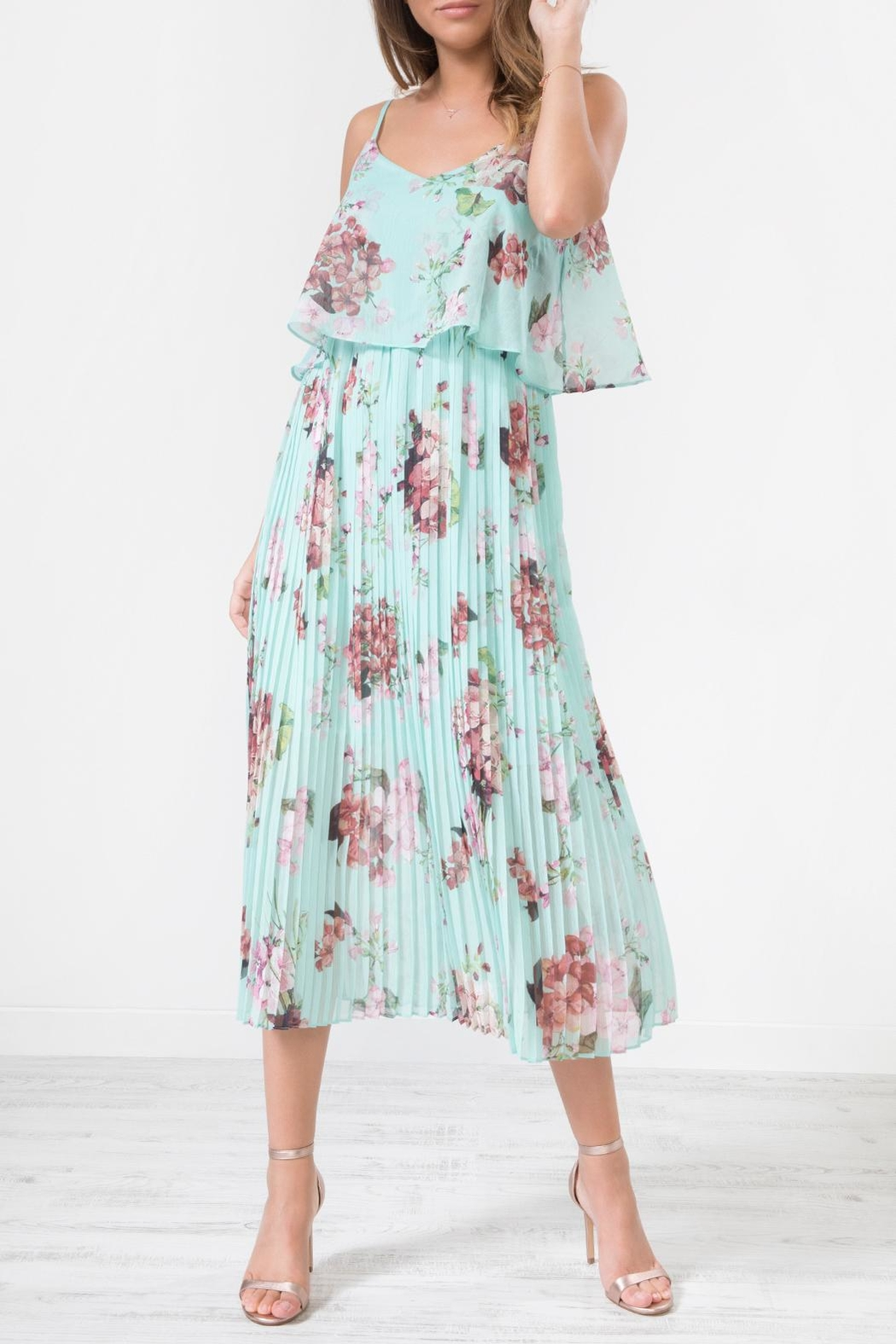 Urban Touch Blue Floral Dress - Front Cropped Image