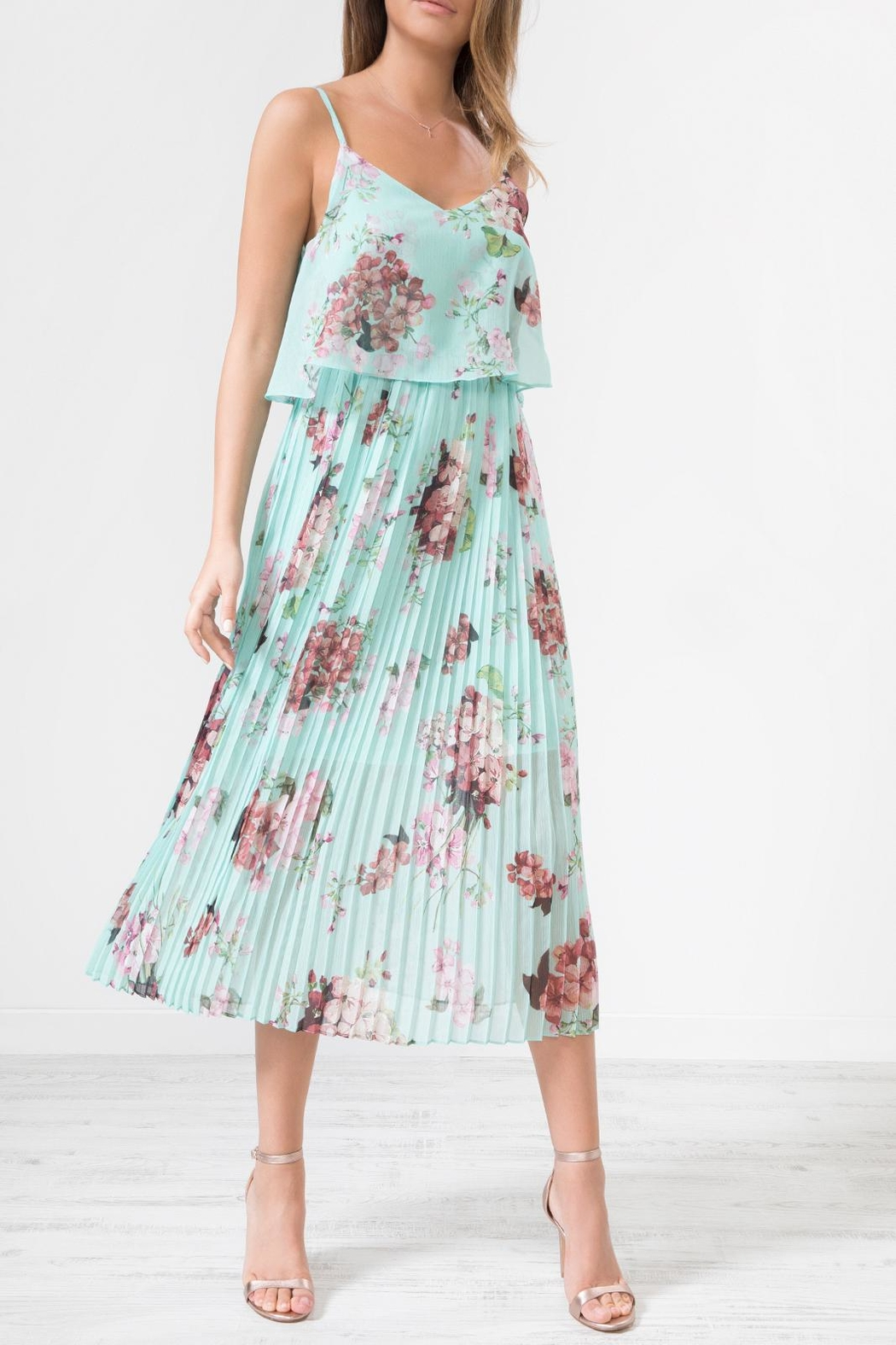 Urban Touch Blue Floral Dress - Front Full Image