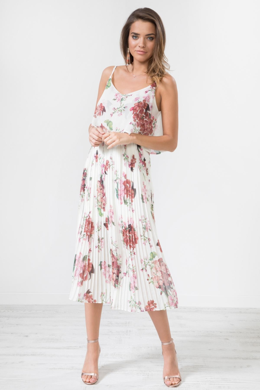 Urban Touch Blue Floral Dress - Back Cropped Image