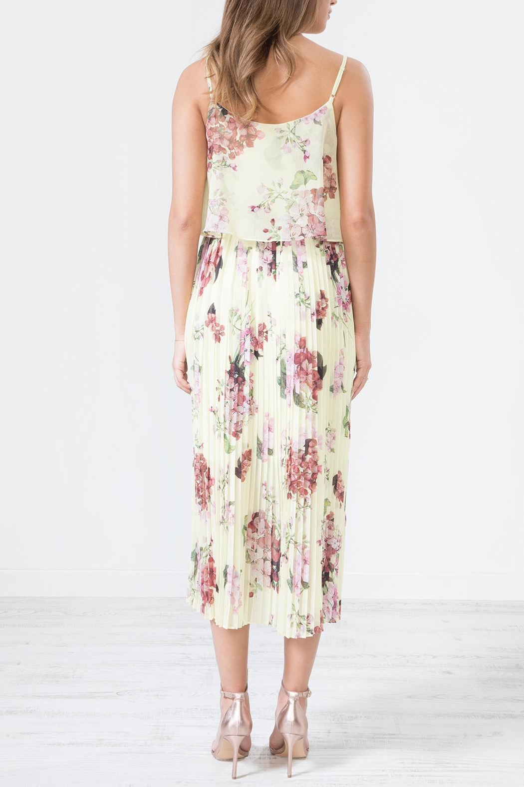 Urban Touch Blue Floral Dress - Side Cropped Image