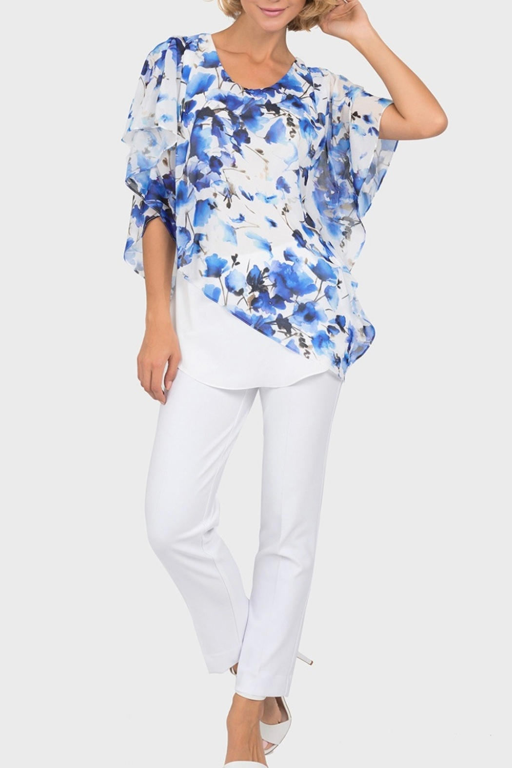 Joseph Ribkoff  Blue floral overlay on white tunic top - Main Image