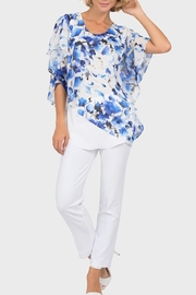 Joseph Ribkoff  Blue floral overlay on white tunic top - Front cropped