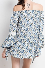 easel Blue-Floral-Print Off-Shoulder Blouse - Front full body
