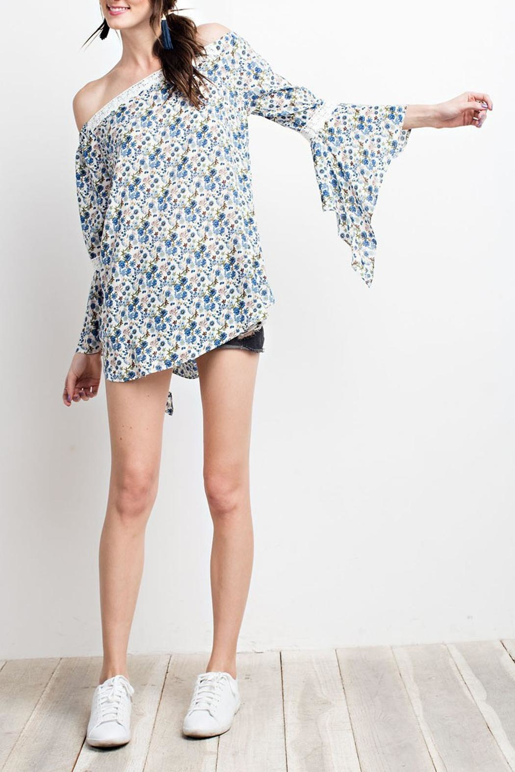 easel Blue-Floral-Print Off-Shoulder Blouse - Main Image