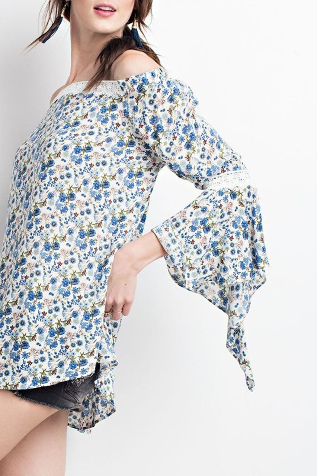 easel Blue-Floral-Print Off-Shoulder Blouse - Front Cropped Image