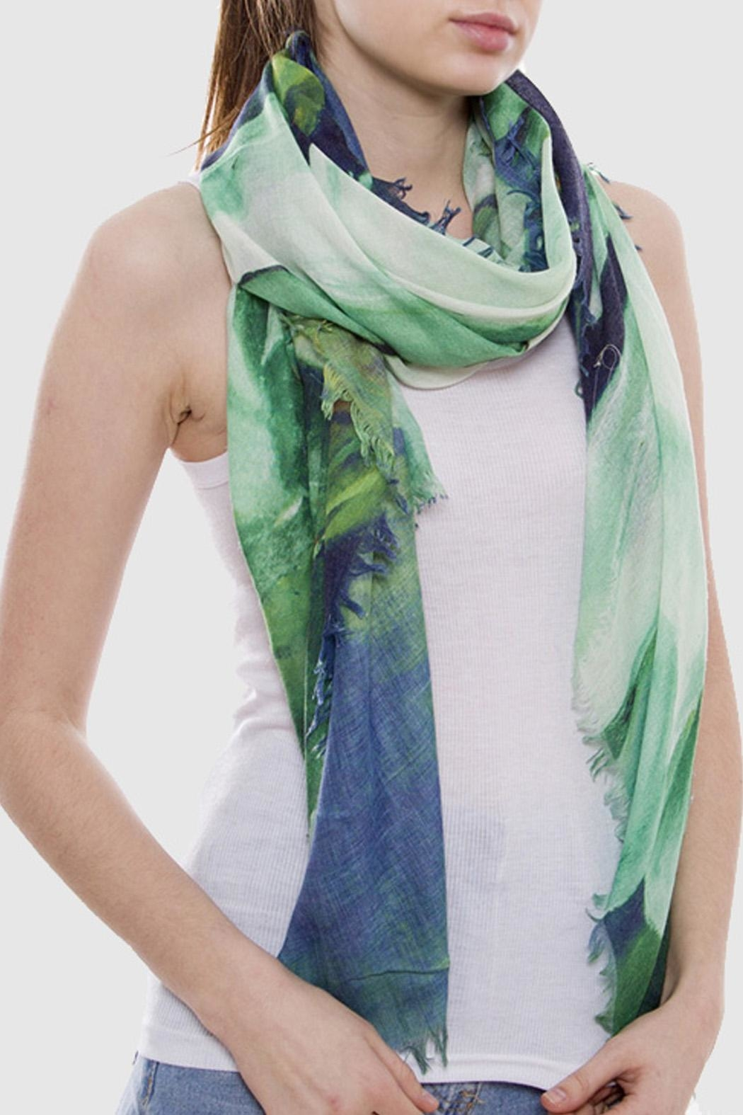 Wild Lilies Jewelry  Blue Floral Scarf - Front Full Image