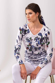 Alison Sheri Blue Floral Sweater - Front full body