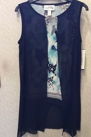 Joseph Ribkoff Blue floral tank with black chiffon overlay - Product Mini Image