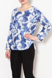 Nally & Millie Blue Floral Tie Dye Top - Product Mini Image