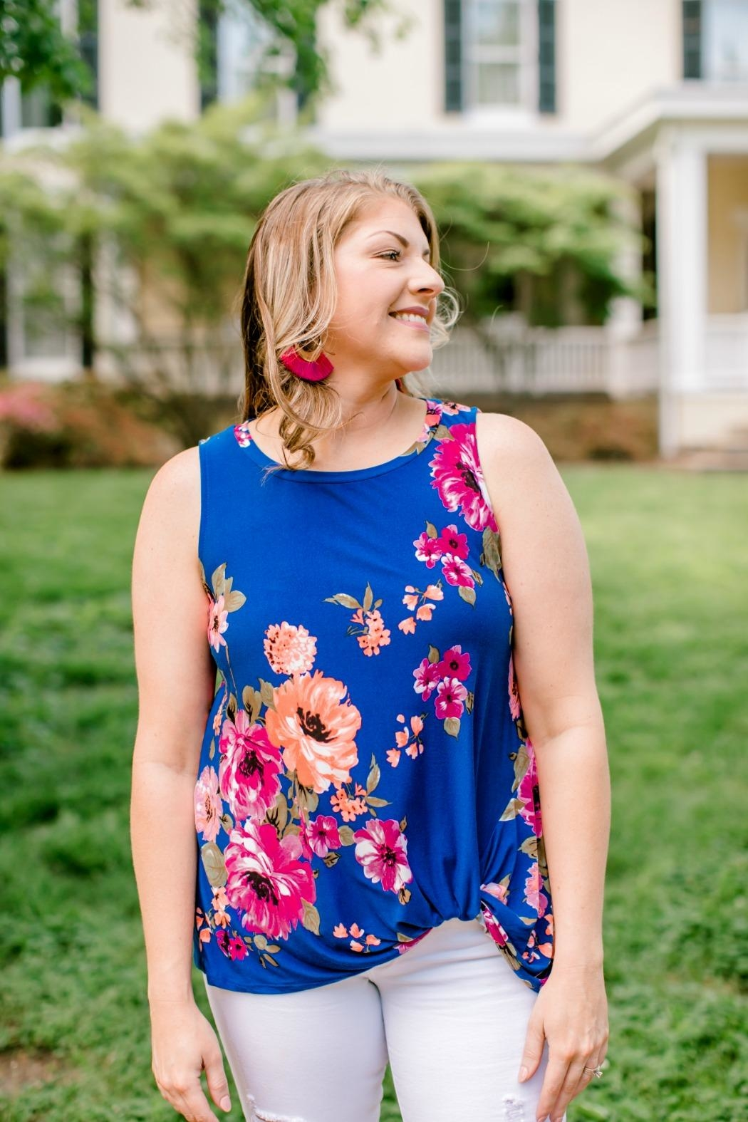 Emerald Blue Floral Top - Front Full Image
