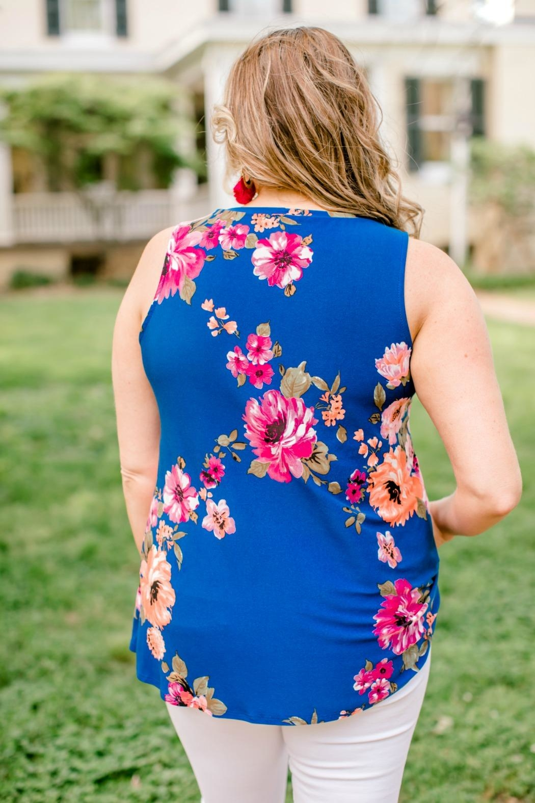 Emerald Blue Floral Top - Side Cropped Image